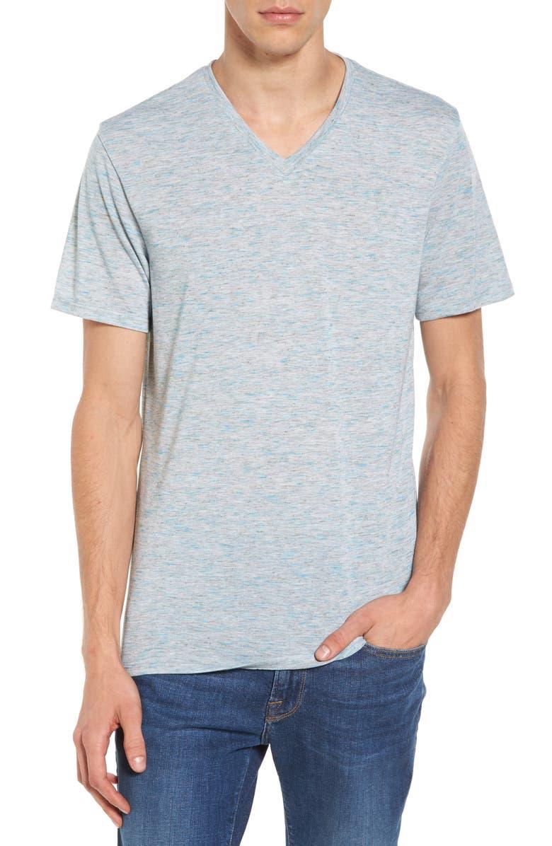 THE RAIL Streaky V-Neck T-Shirt, Main, color, WHITE - BLUE AQUARIUS