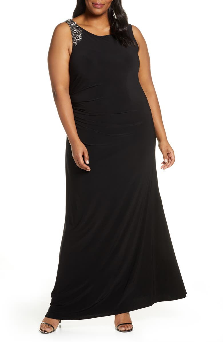 VINCE CAMUTO Embellished Gown, Main, color, BLACK