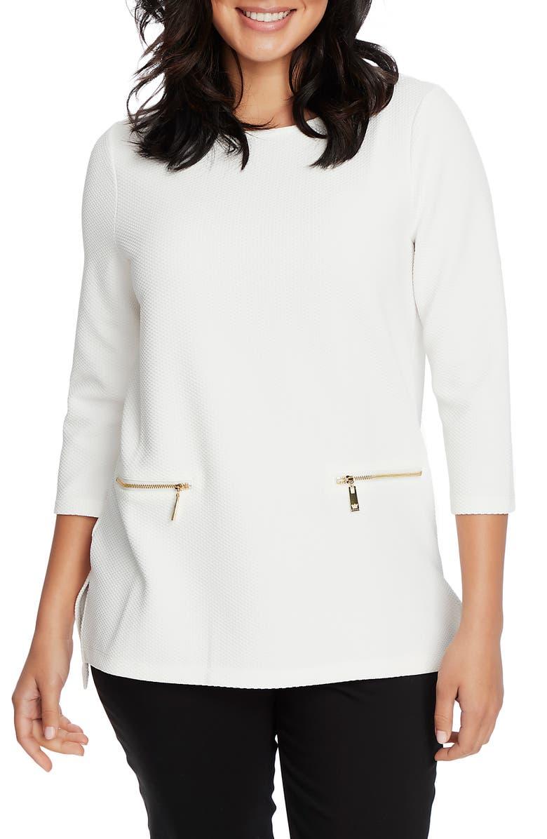 CHAUS Raised Knit Top, Main, color, ANTIQUE WHITE