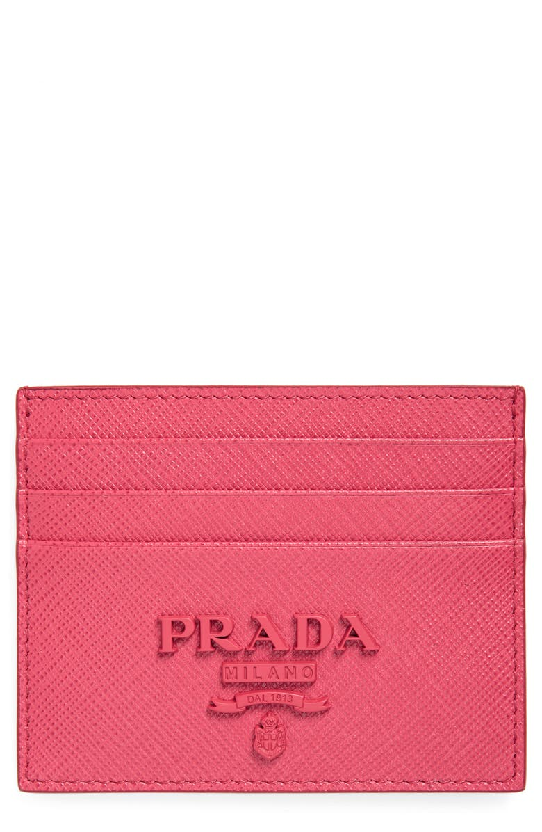 PRADA Monogram Saffiano Leather Card Case, Main, color, 664