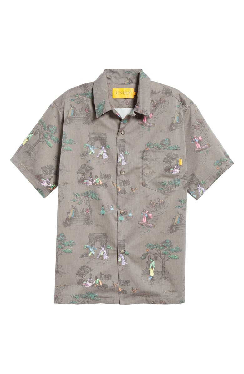 UNION LOS ANGELES Sheila Bridges Harlem Toile Short Sleeve Button-Up Shirt, Main, color, BROWN