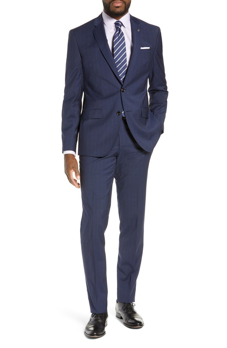 TED BAKER LONDON Jay Trim Fit Plaid Wool Suit, Main, color, 410