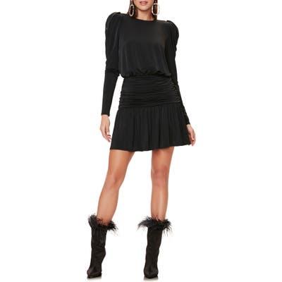 Afrm Bette Long Sleeve Minidress, Black
