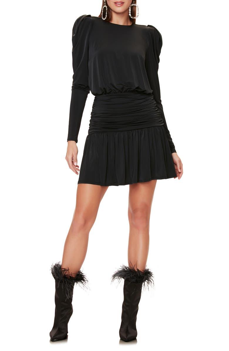 AFRM Bette Long Sleeve Minidress, Main, color, NOIR