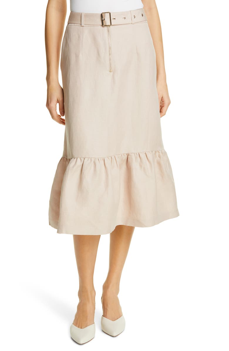 KATE SPADE NEW YORK belted flounce skirt, Main, color, 250