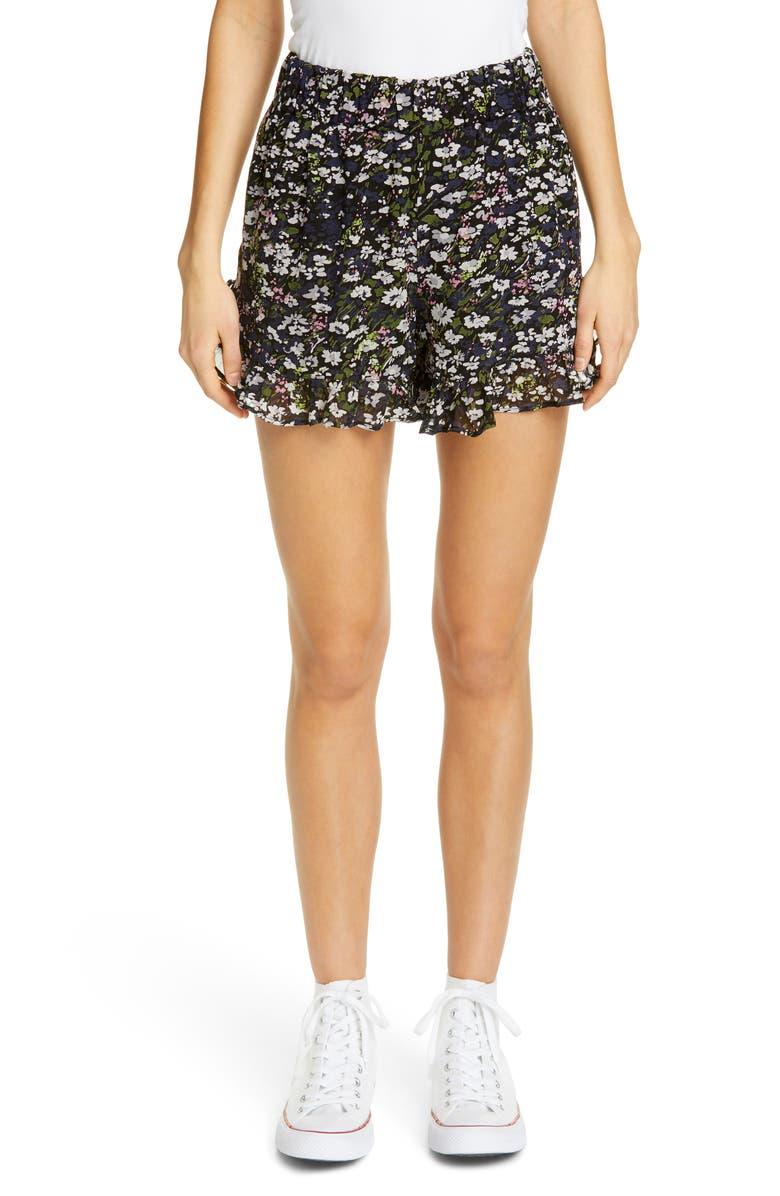 GANNI Floral Print Georgette Shorts, Main, color, BLACK