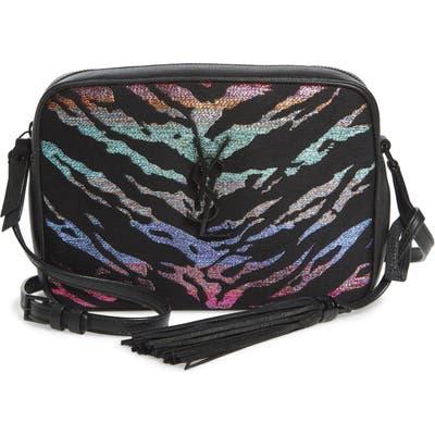 Saint Laurent Lou Metallic Tiger Stripe Crossbody Bag - Black