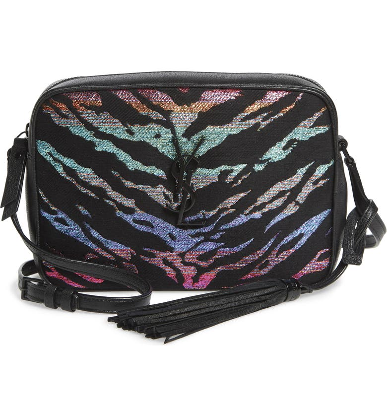 SAINT LAURENT Lou Metallic Tiger Stripe Crossbody Bag, Main, color, NOIR MULTI