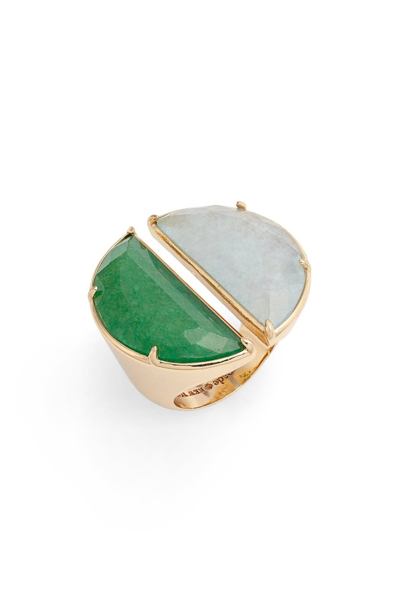 KATE SPADE NEW YORK split scallop statement ring, Main, color, 322