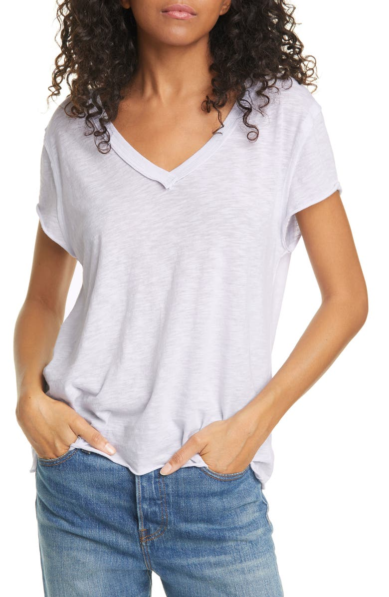 FREE PEOPLE Kaylen Cotton Blend T-Shirt, Main, color, LAVENDER CRYSTAL