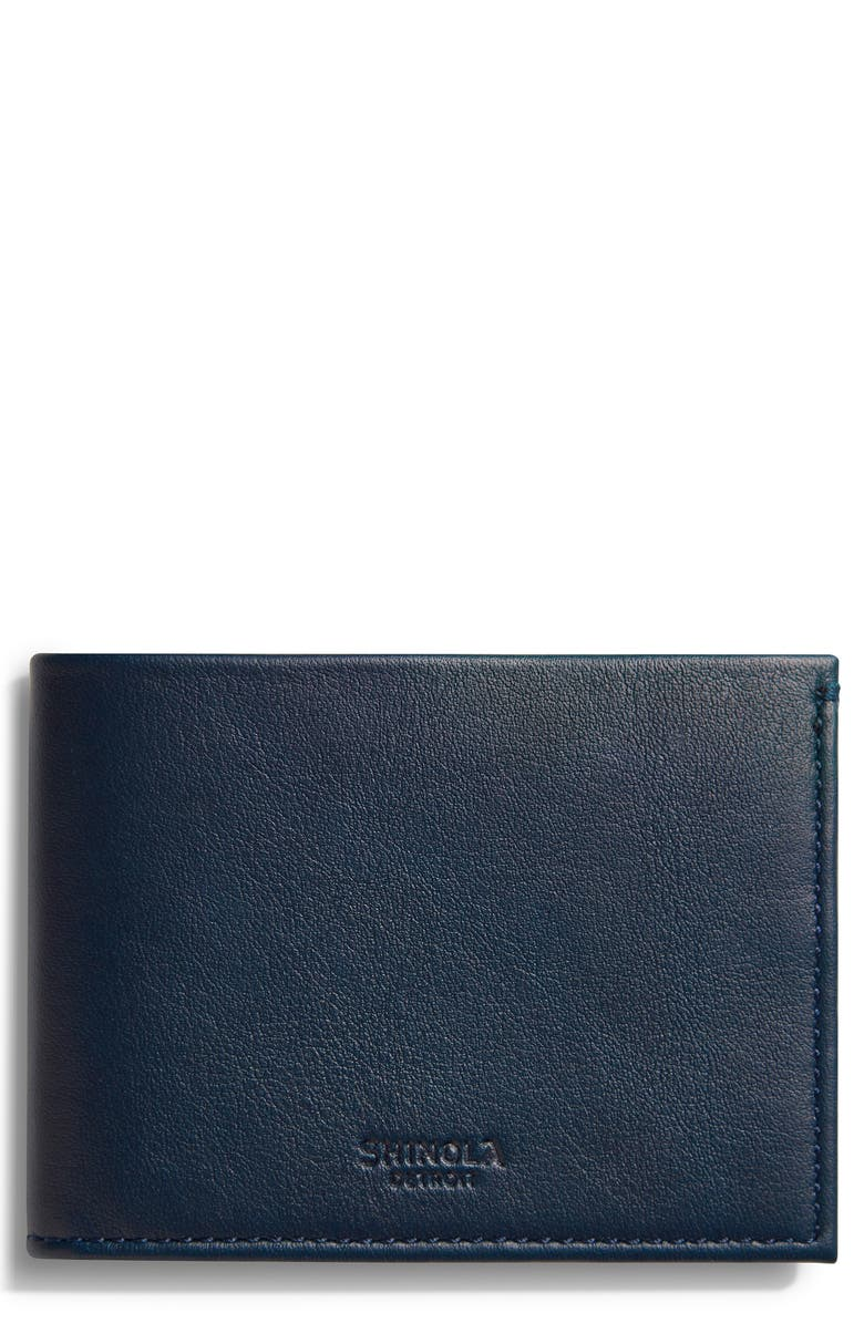SHINOLA Leather Slim Bifold Wallet, Main, color, NAVY