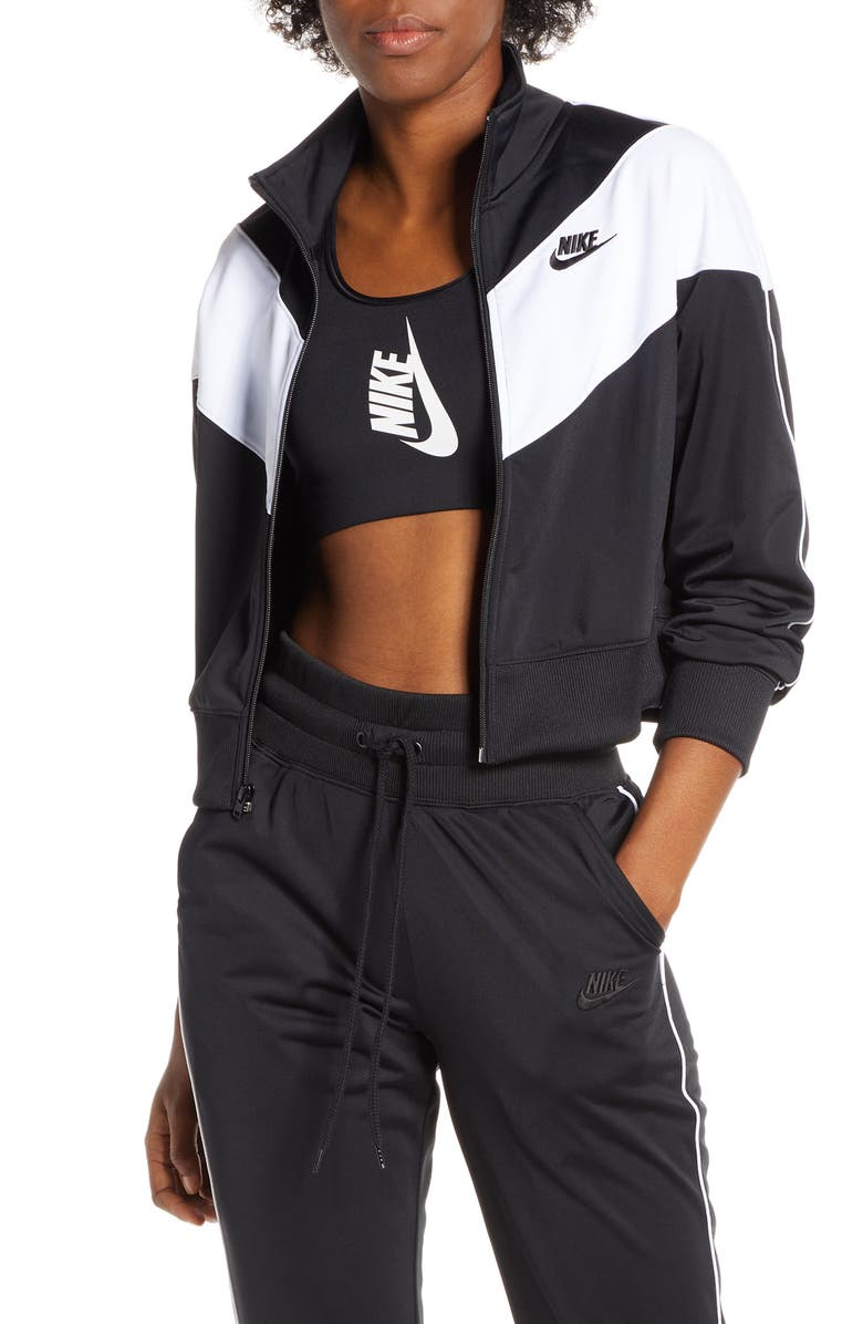 NIKE Sportswear Heritage Crop Track Jacket, Main, color, BLACK/ WHITE/ BLACK/ BLACK