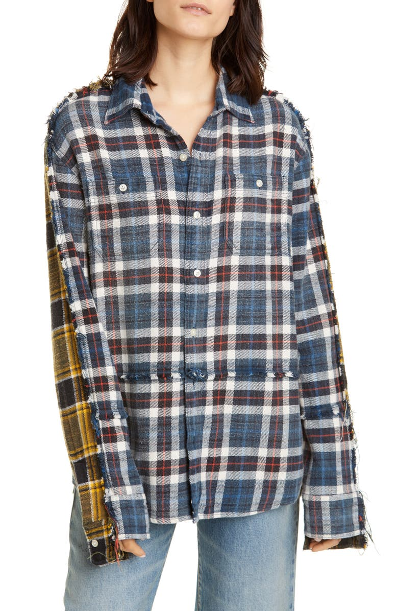 R13 Mended Double Plaid Shirt, Main, color, 410