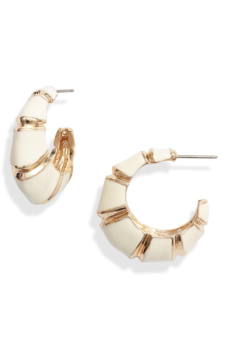 8 OTHER REASONS x Jill Jacobs Leona Hoop Earrings, Main, color, GOLD/ WHITE