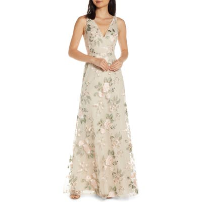 Jenny Yoo Tatum Floral Embroidered Tulle Evening Dress