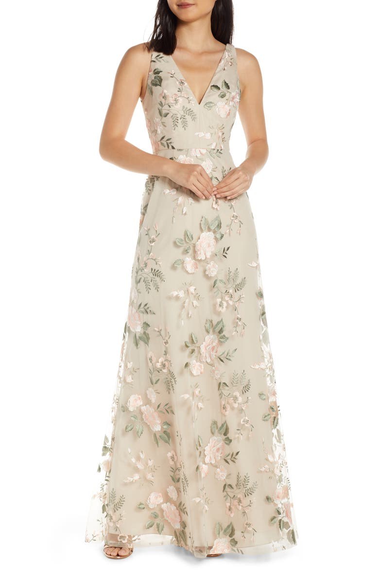 JENNY YOO Tatum Floral Embroidered Tulle Evening Dress, Main, color, BLUSH SAND DUNE