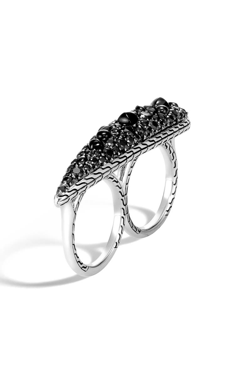 JOHN HARDY Classic Chain Black Sapphire Two-Finger Ring, Main, color, SILVER/ BLACK SAPPHIRE