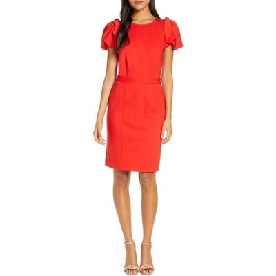 Rachel Parcell Bow Shoulder Detail Sheath Dress, Red (Nordstrom Exclusive)