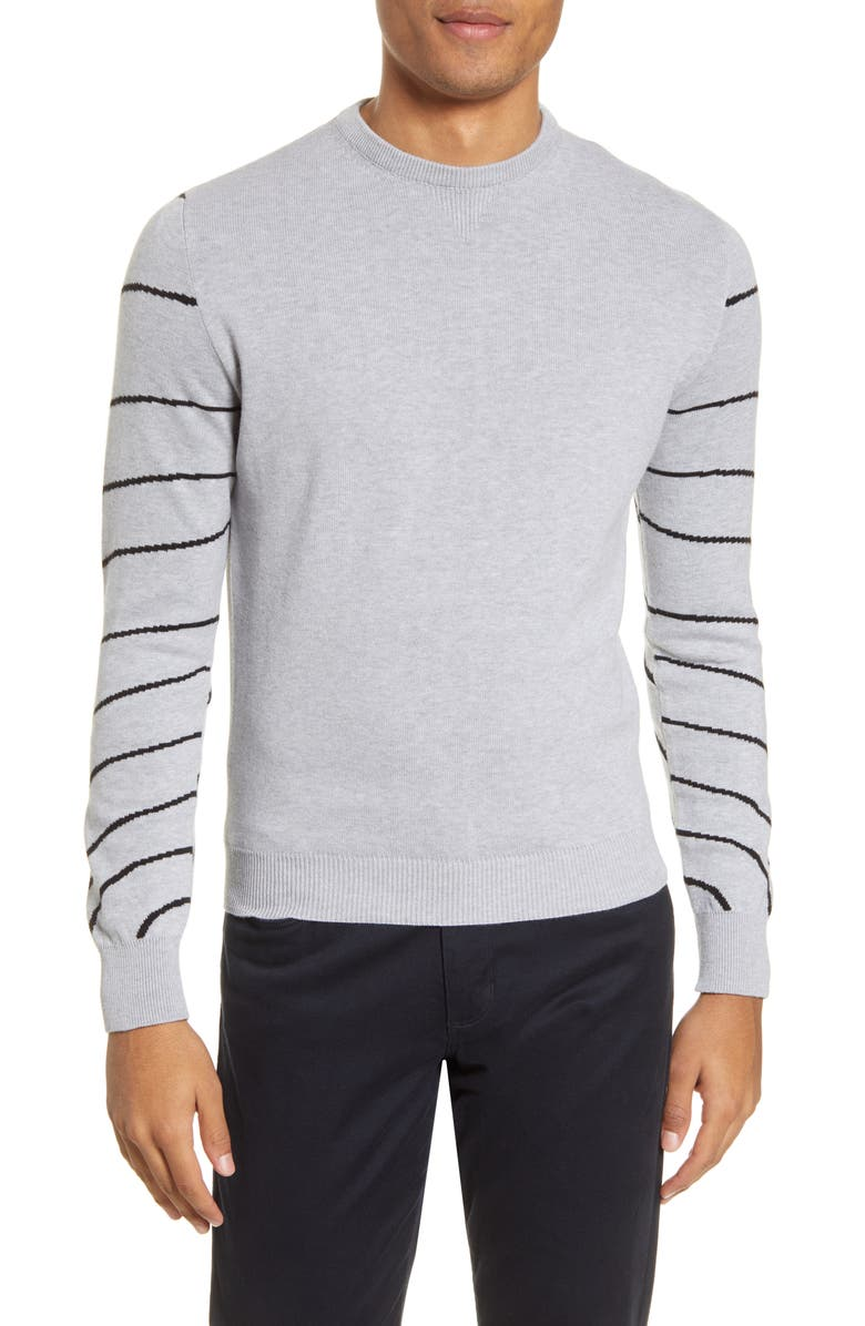 CHRISTOPHER BATES Stripe Sleeve Crewneck Sweater, Main, color, GREY/ BLACK