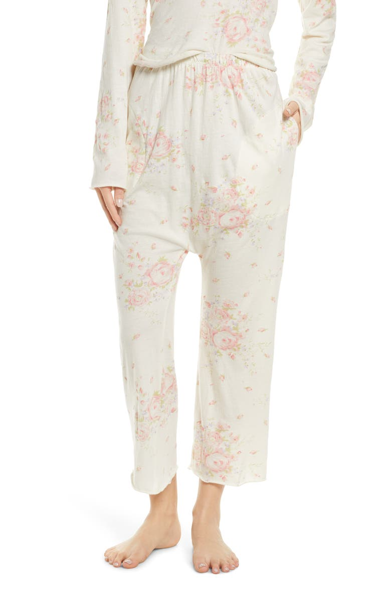 THE GREAT. The Lounge Crop Pajama Pants, Main, color, 900