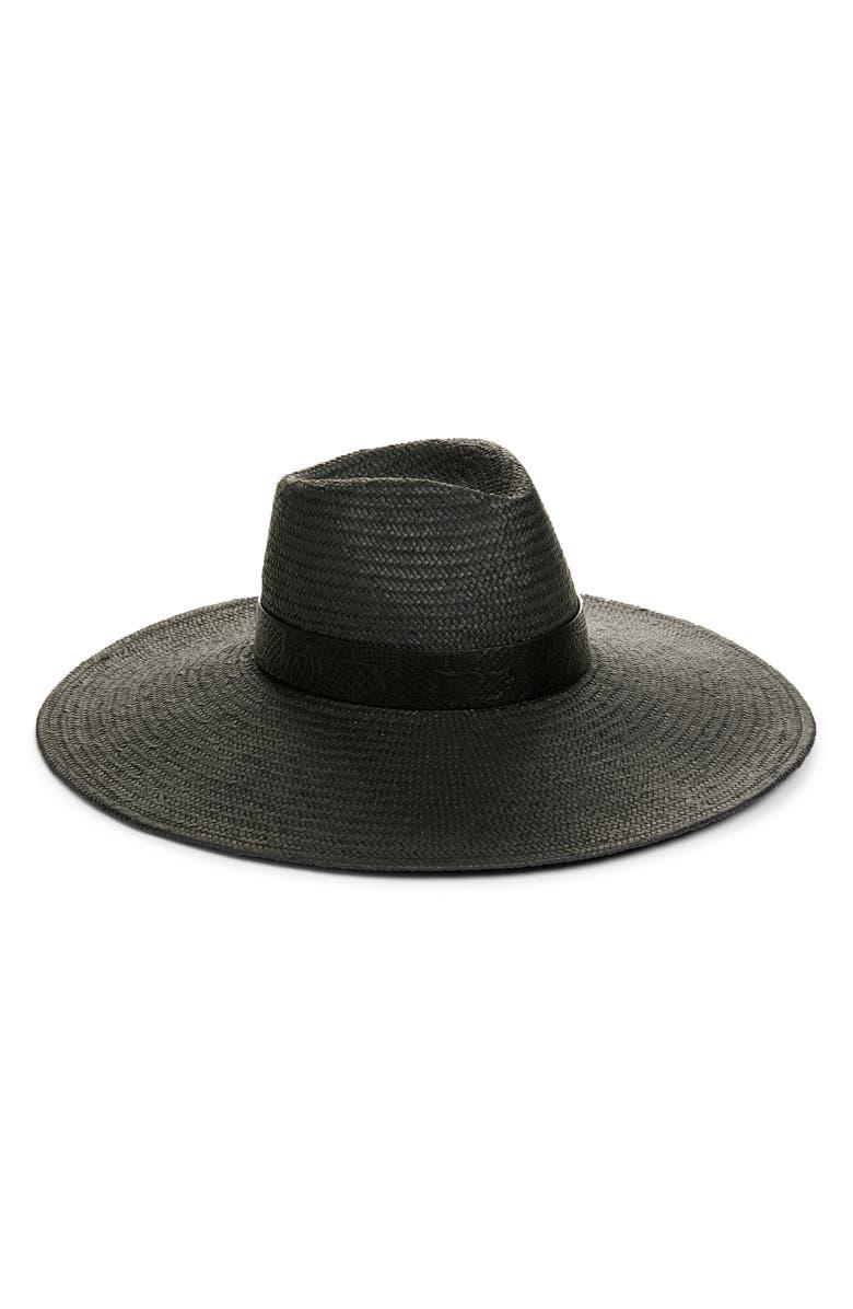 TREASURE & BOND Wide Brim Straw Panama Hat, Main, color, BLACK COMBO