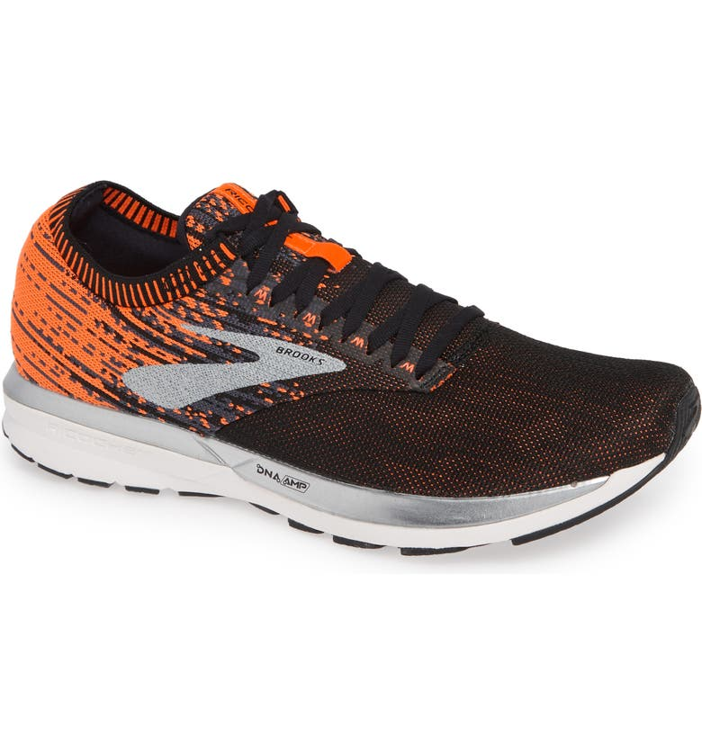 BROOKS Ricochet Running Shoe, Main, color, BLACK/ ORANGE/ EBONY