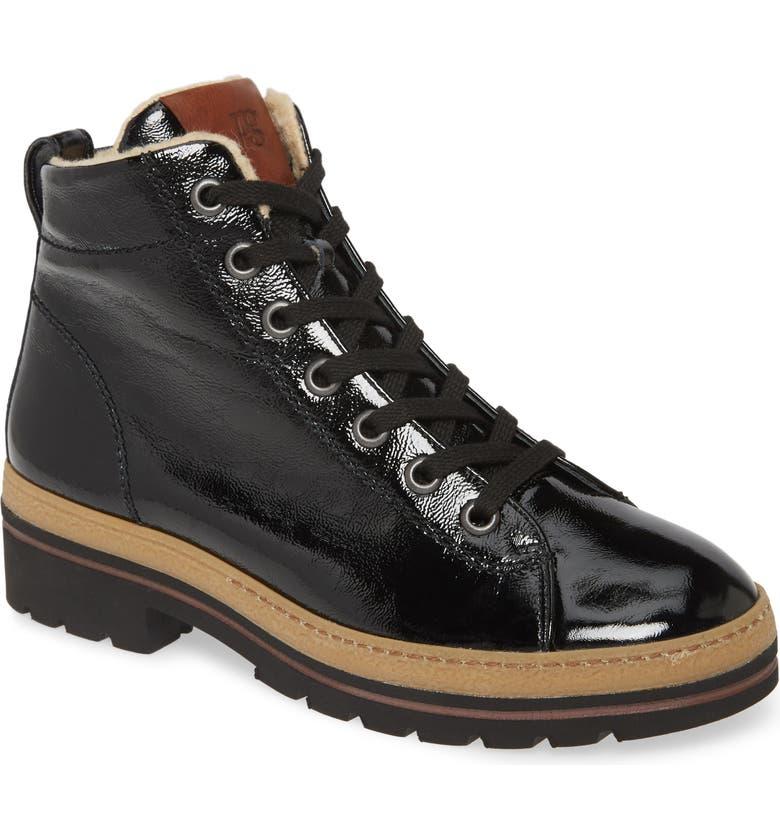 PAUL GREEN Crane Faux Fur Lined Boot, Main, color, BLACK PATENT COMBO