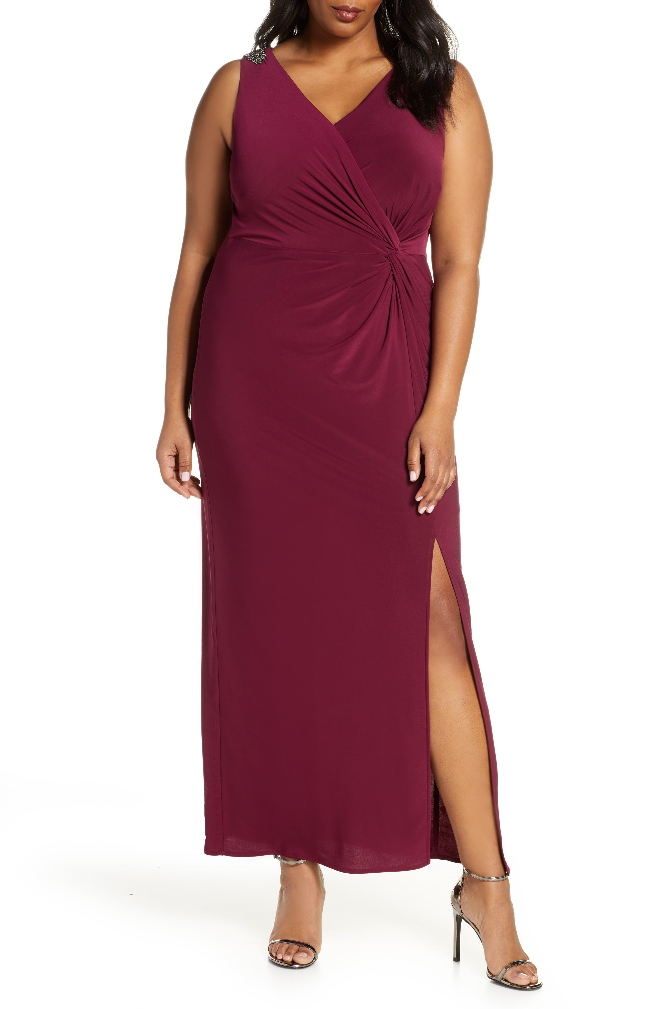 Plus Size Alex Evenings Jeweled Shoulder Twist Front Gown, Burgundy