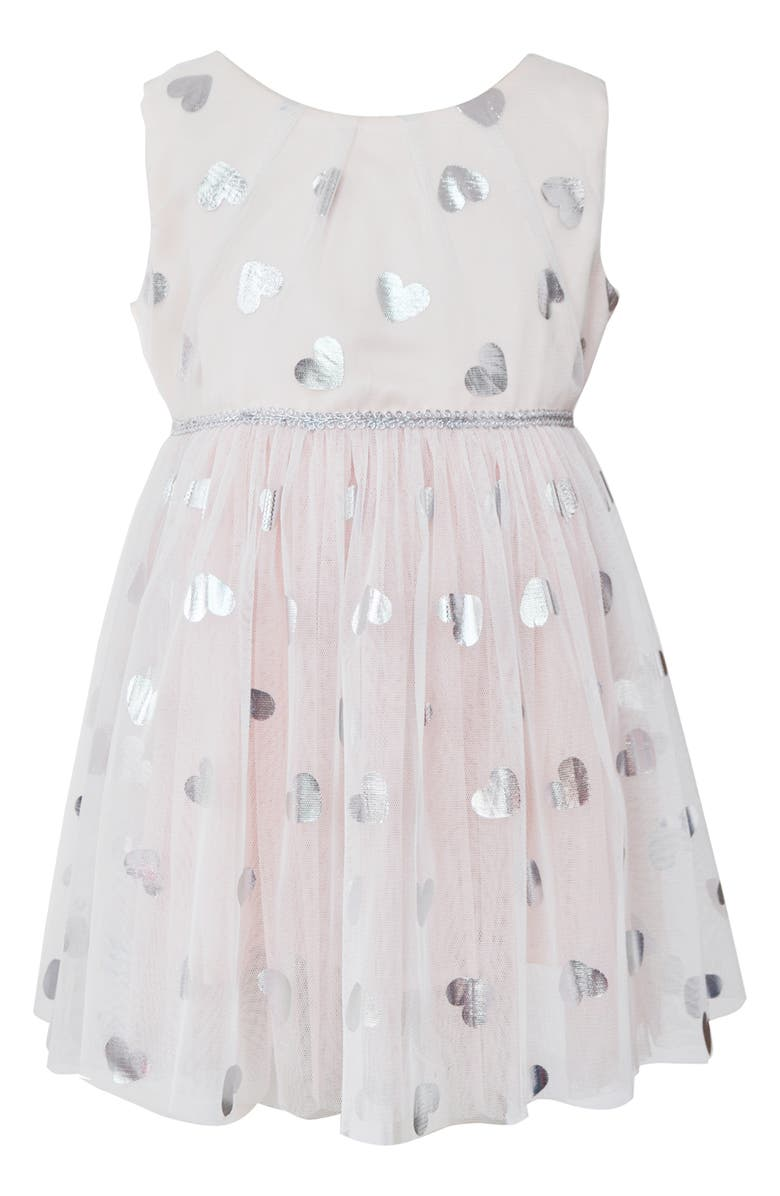 POPATU Metallic Heart Tulle Dress, Main, color, PEACH