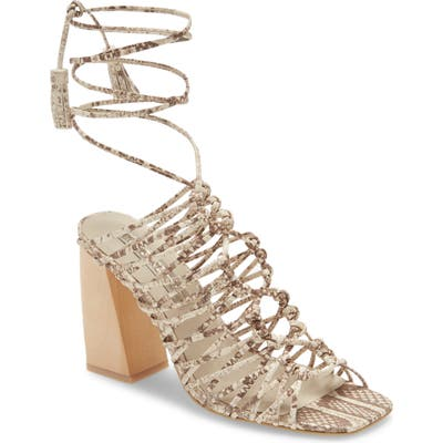 Imagine Vince Camuto Snake Embossed Ankle Wrap Cage Sandal, Beige