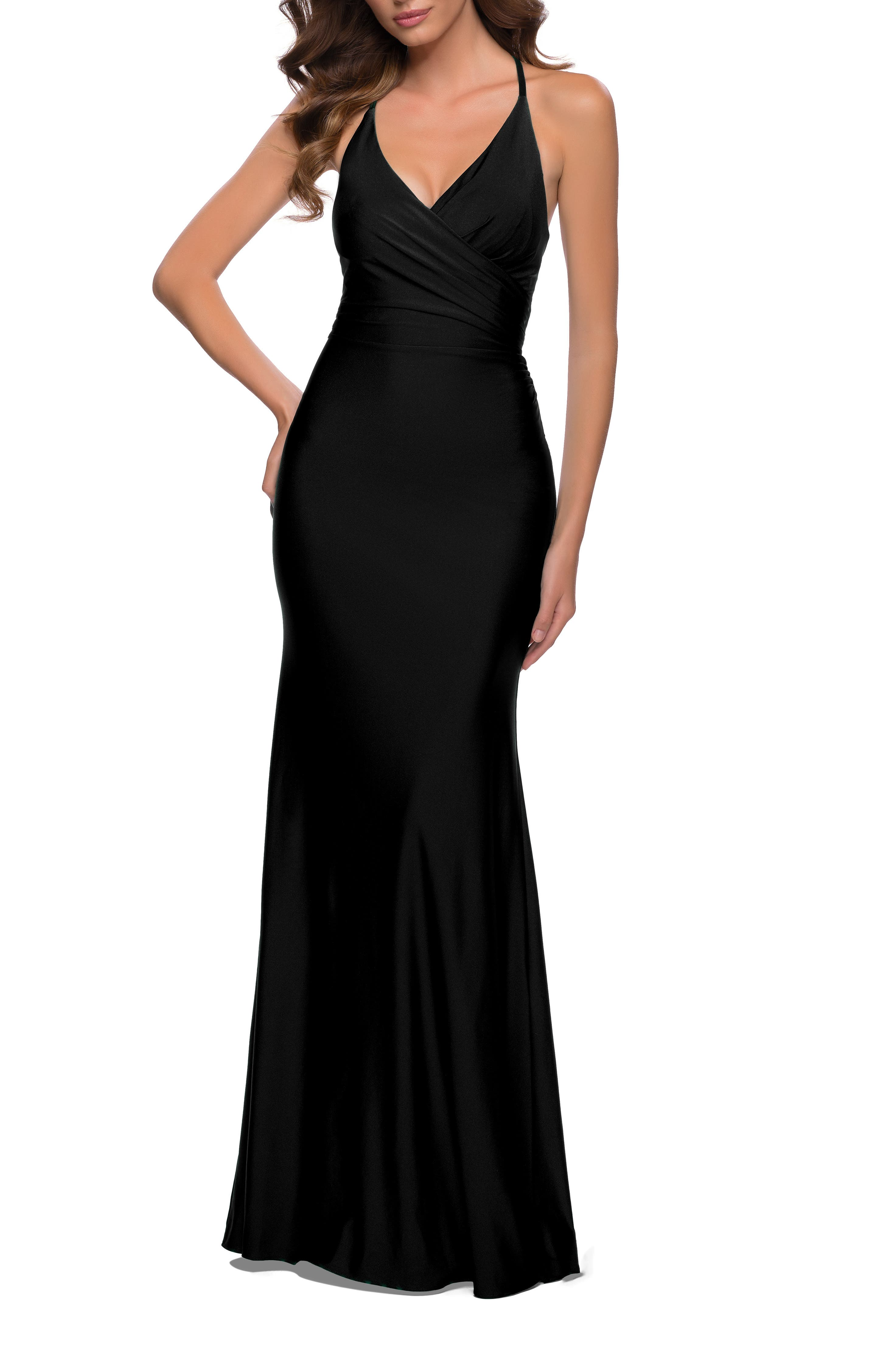 Alluring details grace every inch of this curve-skimming gown, from the gracefully wrapped front to the low-dipped strappy back. Style Name: La Femme Wrap Front Strappy Back Jersey Gown. Style Number: 6155868. Available in stores.