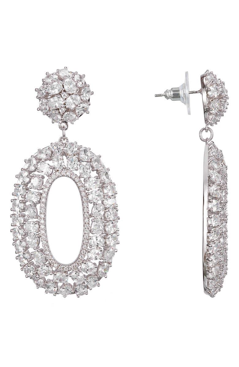 NINA Cubic Zirconia Oval Drop Earrings, Main, color, RHODIUM/ WHITE CZ