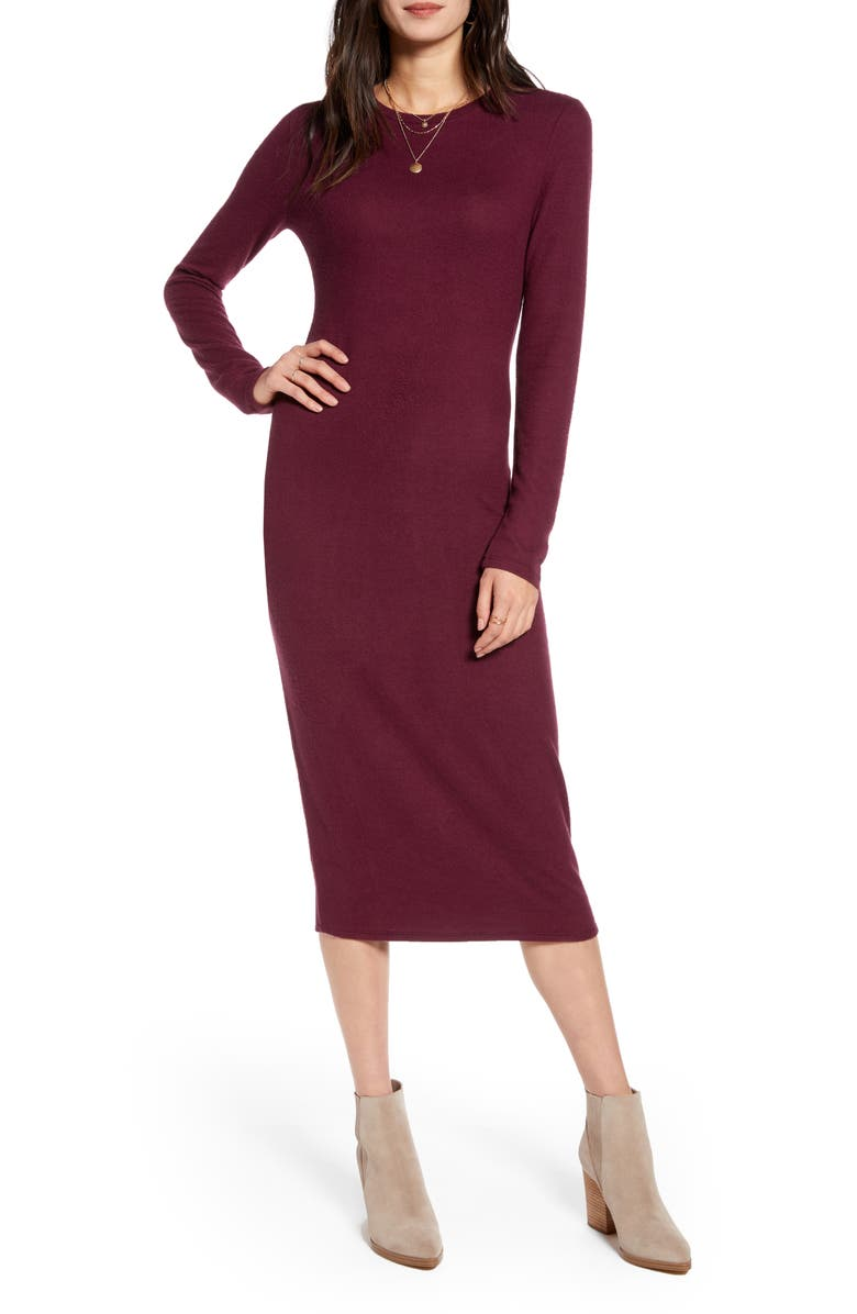 TREASURE & BOND Cozy Long Sleeve Sweater Dress, Main, color, BURGUNDY STEM