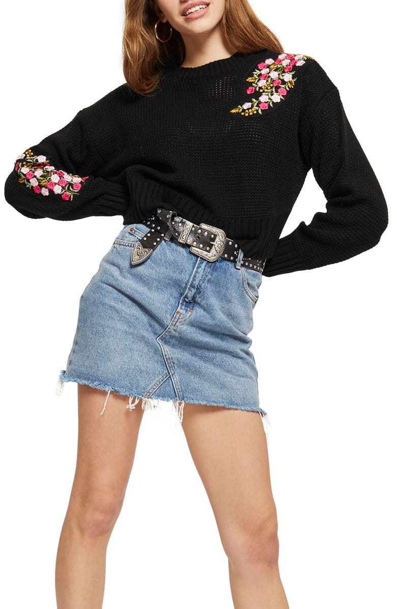 TOPSHOP Floral Patch Sweater, Main, color, 001