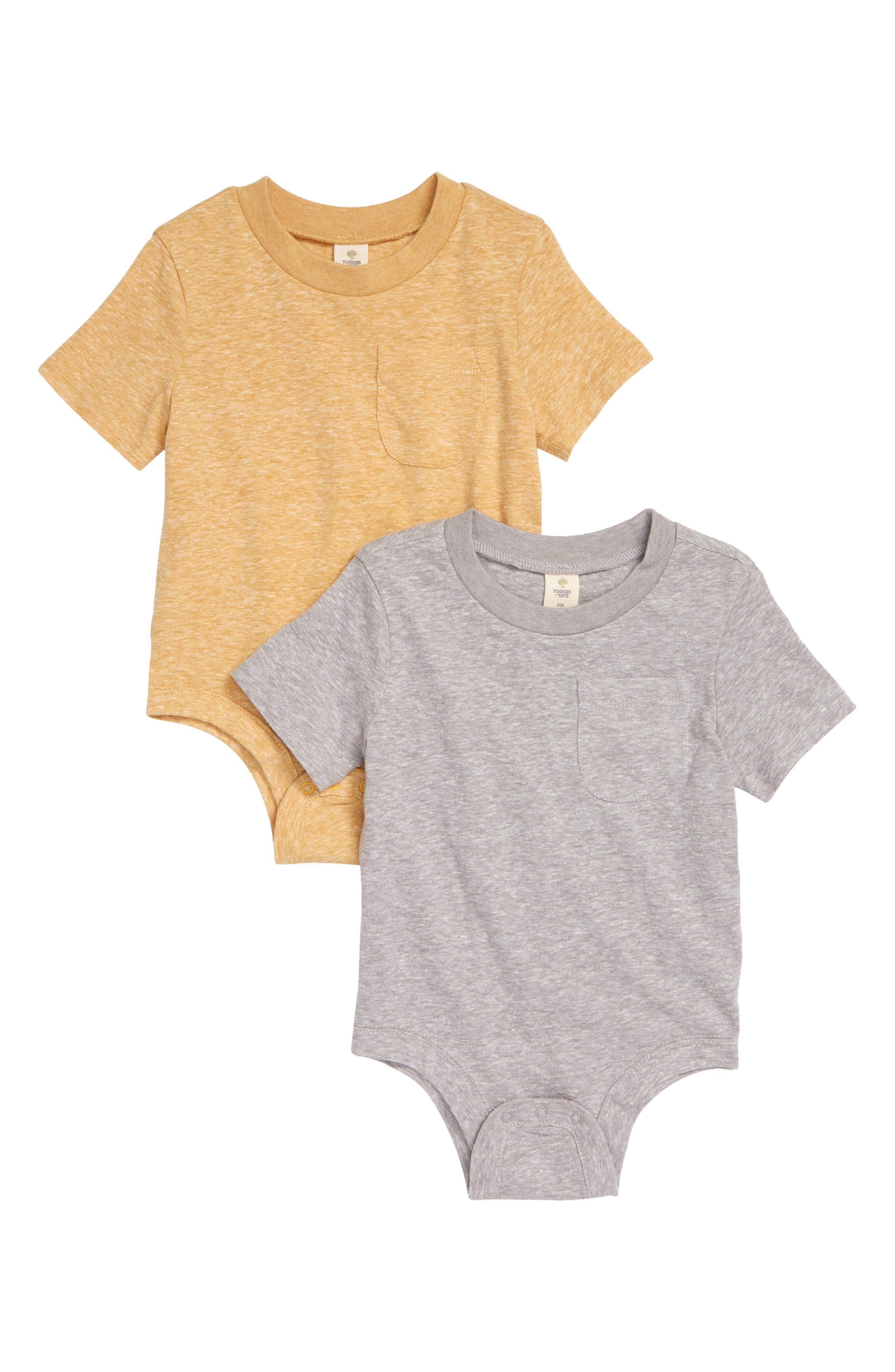 A softly heathered cotton blend brings comfort and a sporty kick to a set of easy-on bodysuits made with short sleeves and handsome little chest pockets. Style Name: Tucker + Tate 2-Pack Short Sleeve Bodysuits (Baby). Style Number: 6011225. Available in stores.