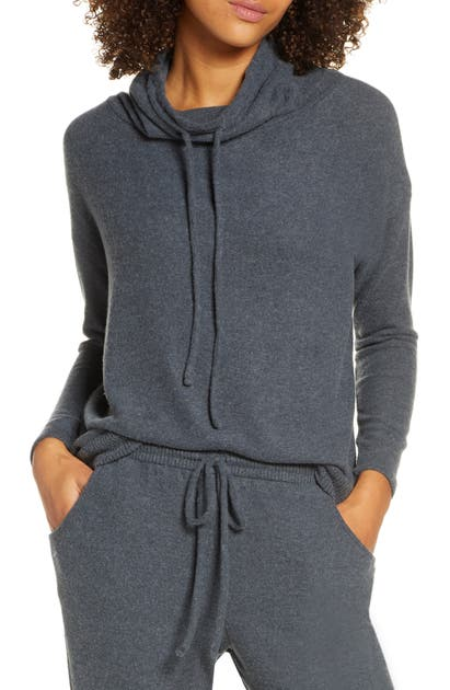 Eberjey Cozy Time Drawstring Funnel Neck Top In Charcoal Heather