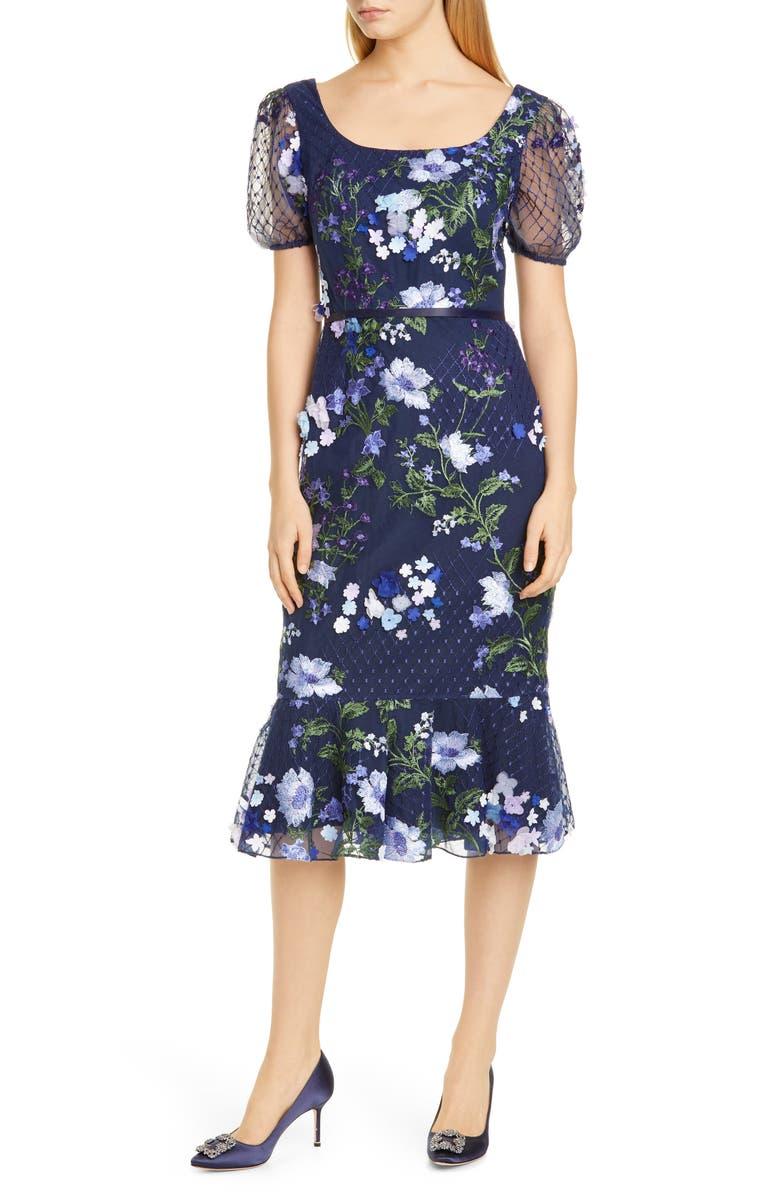 MARCHESA NOTTE Floral Appliqué Tulle Cocktail Dress, Main, color, NAVY