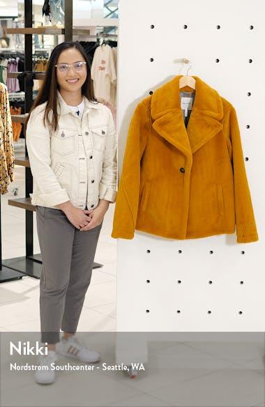 Notched Collar Faux Fur Coat, sales video thumbnail