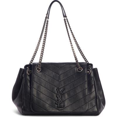Saint Laurent Medium Nolita Leather Shoulder Bag - Black