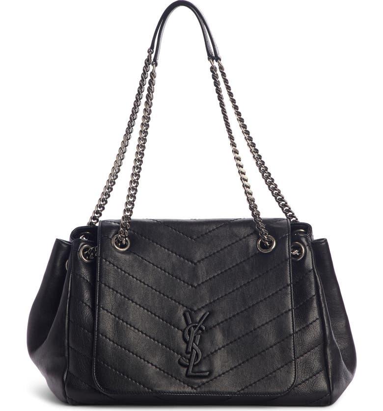 SAINT LAURENT Medium Nolita Leather Shoulder Bag, Main, color, NOIR