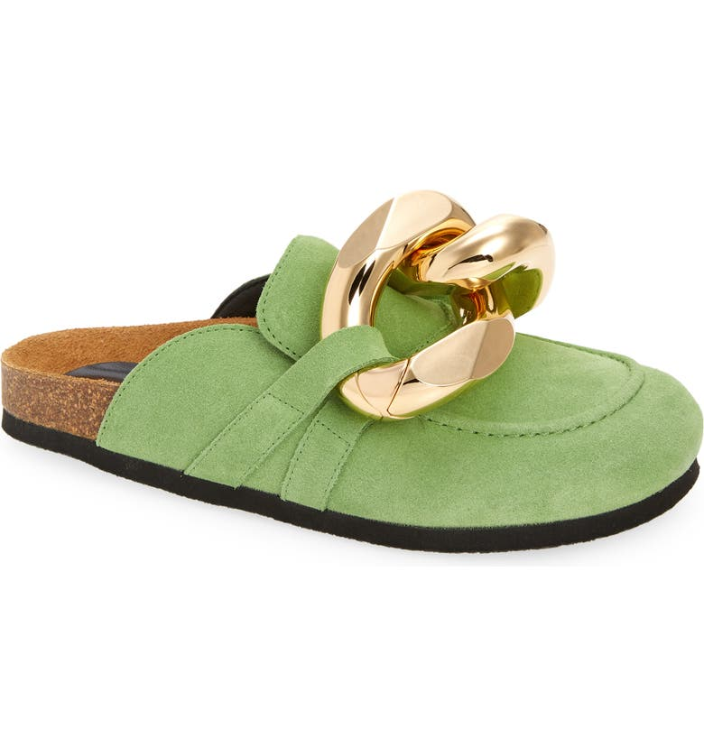 JW ANDERSON Chain Link Loafer Mule, Main, color, GREEN