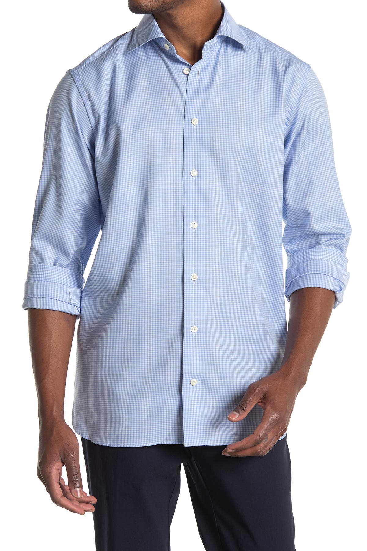 Image of Eton Micro Check Contemporary Fit Shirt