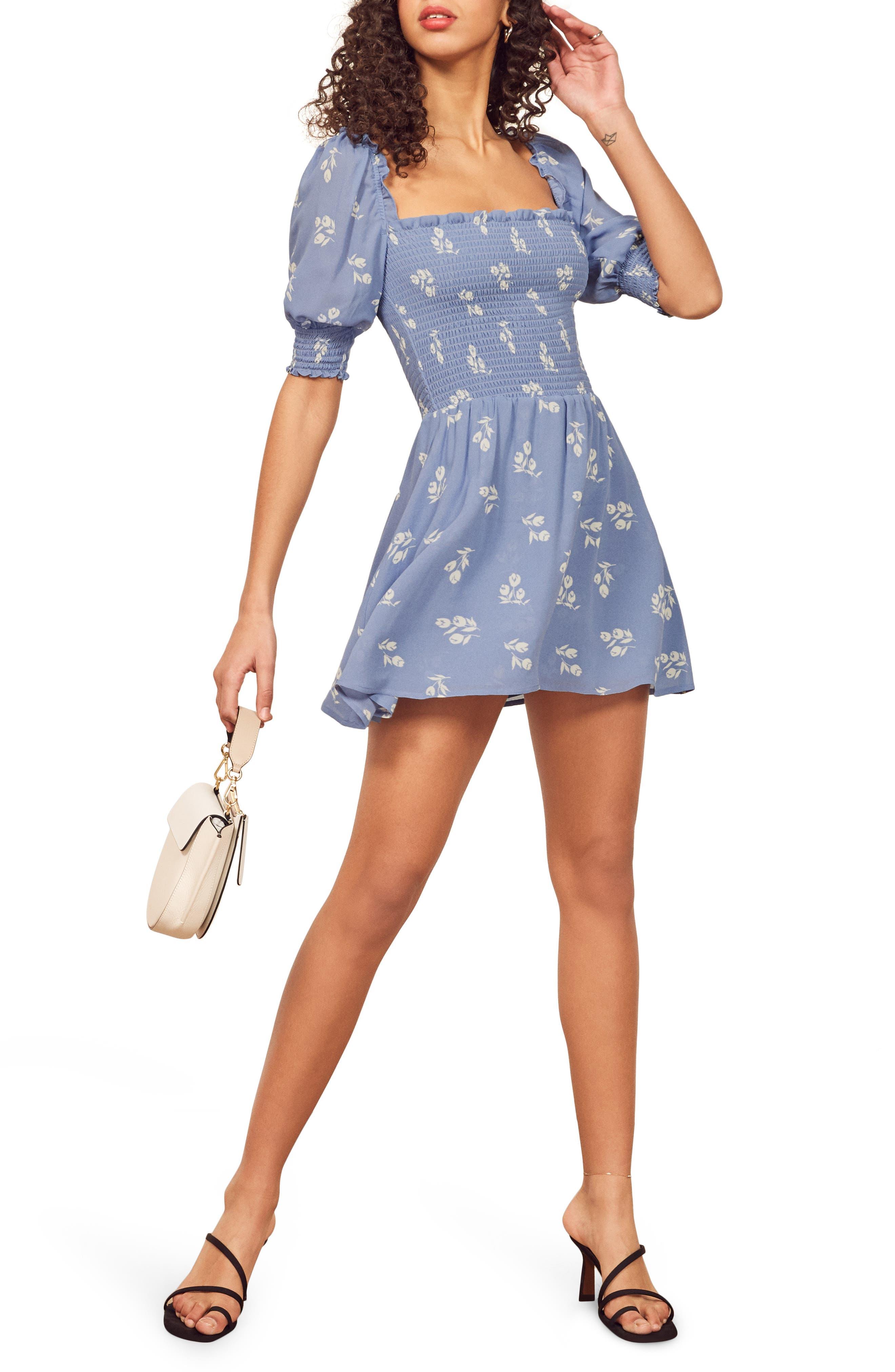Reformation Elle Smocked Minidress, Blue