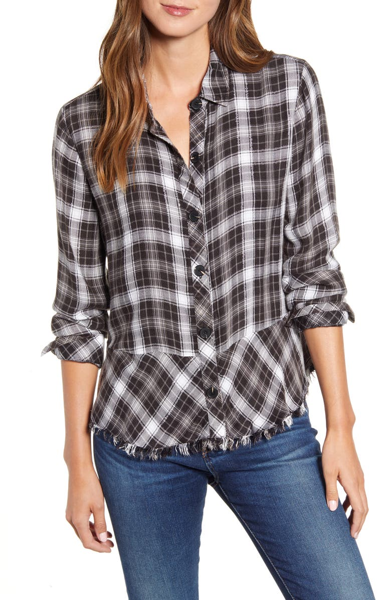 WIT & WISDOM Plaid Flounce Hem Button-Up Shirt, Main, color, BLACK