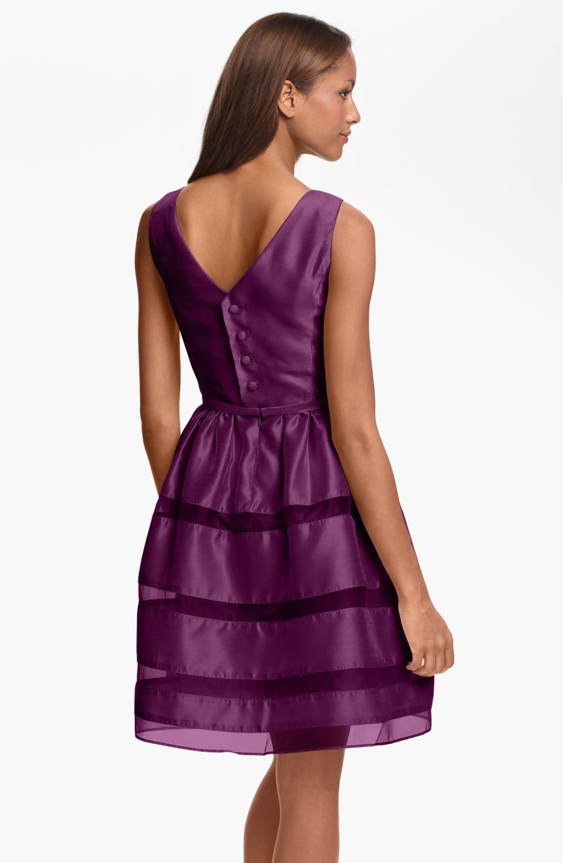 ,                             Tonal Stripe Fit & Flare Dress,                             Alternate thumbnail 15, color,                             930