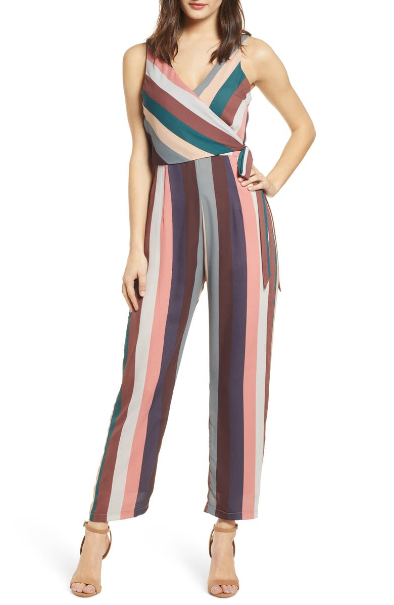 SPEECHLESS Tie Bodice Stripe Jumpsuit, Main, color, BROWN GREEN
