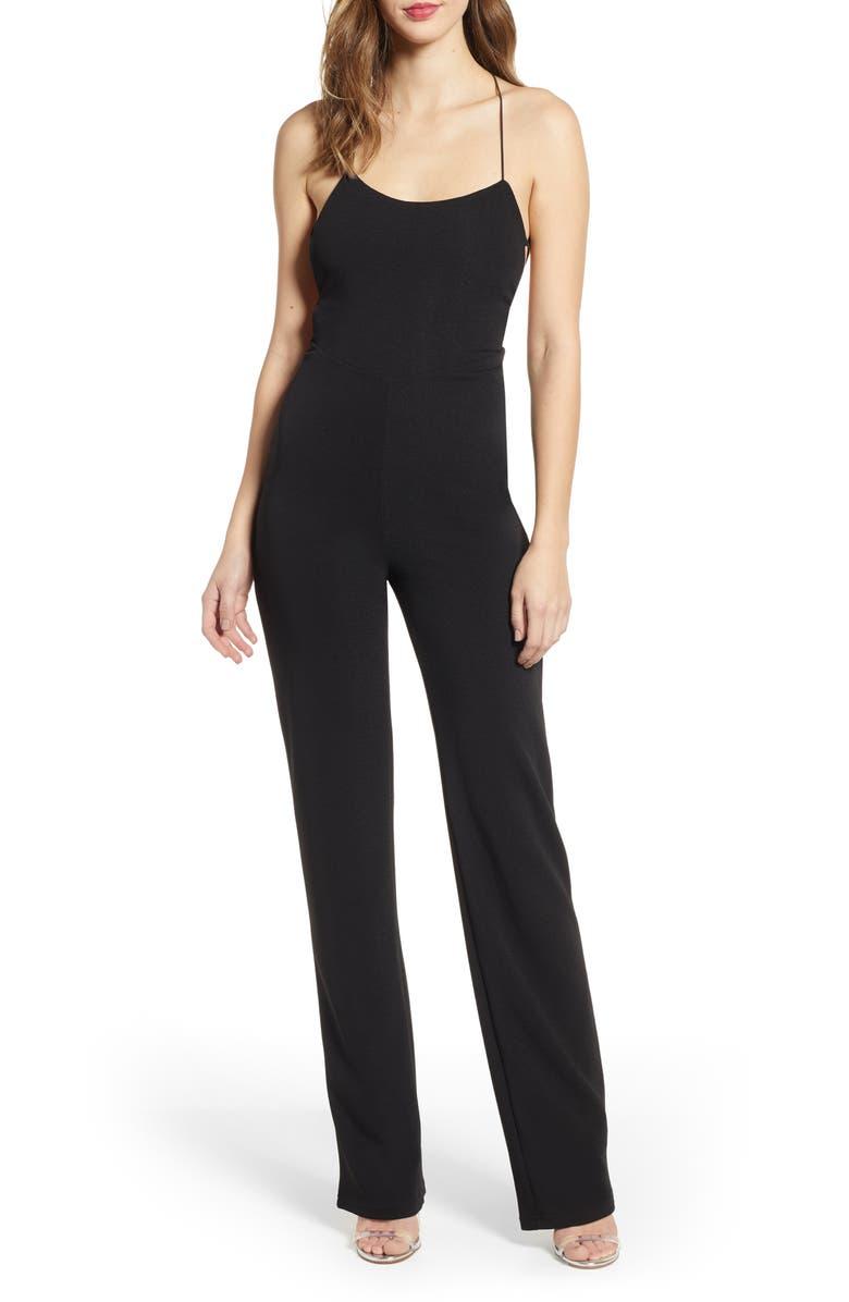 TIGER MIST Blanche Strappy Back Crepe Jumpsuit, Main, color, 001