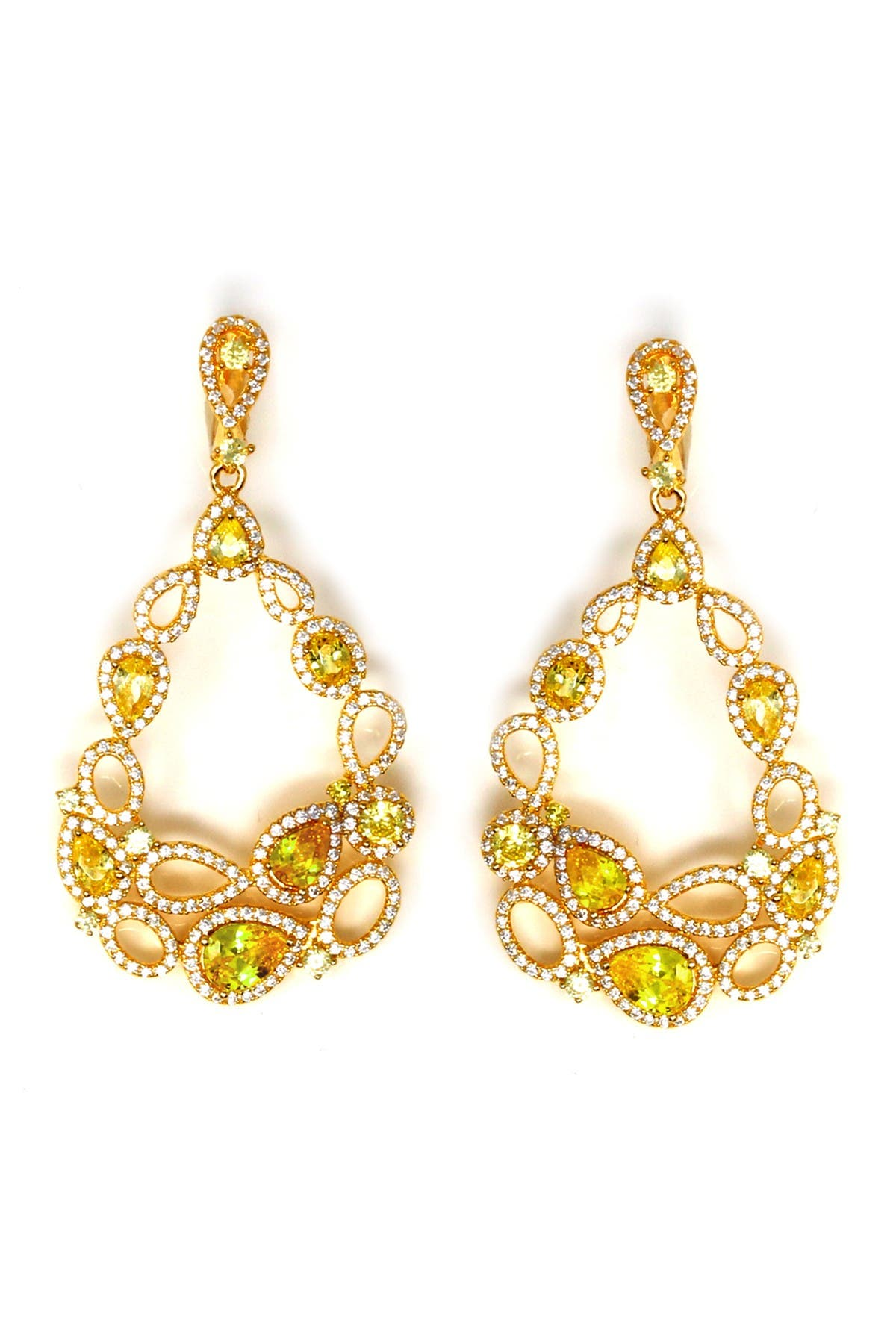Image of Suzy Levian Yellow Rhodium Plated Sterling Silver Chandelier Cubic Zirconia Drop Earrings