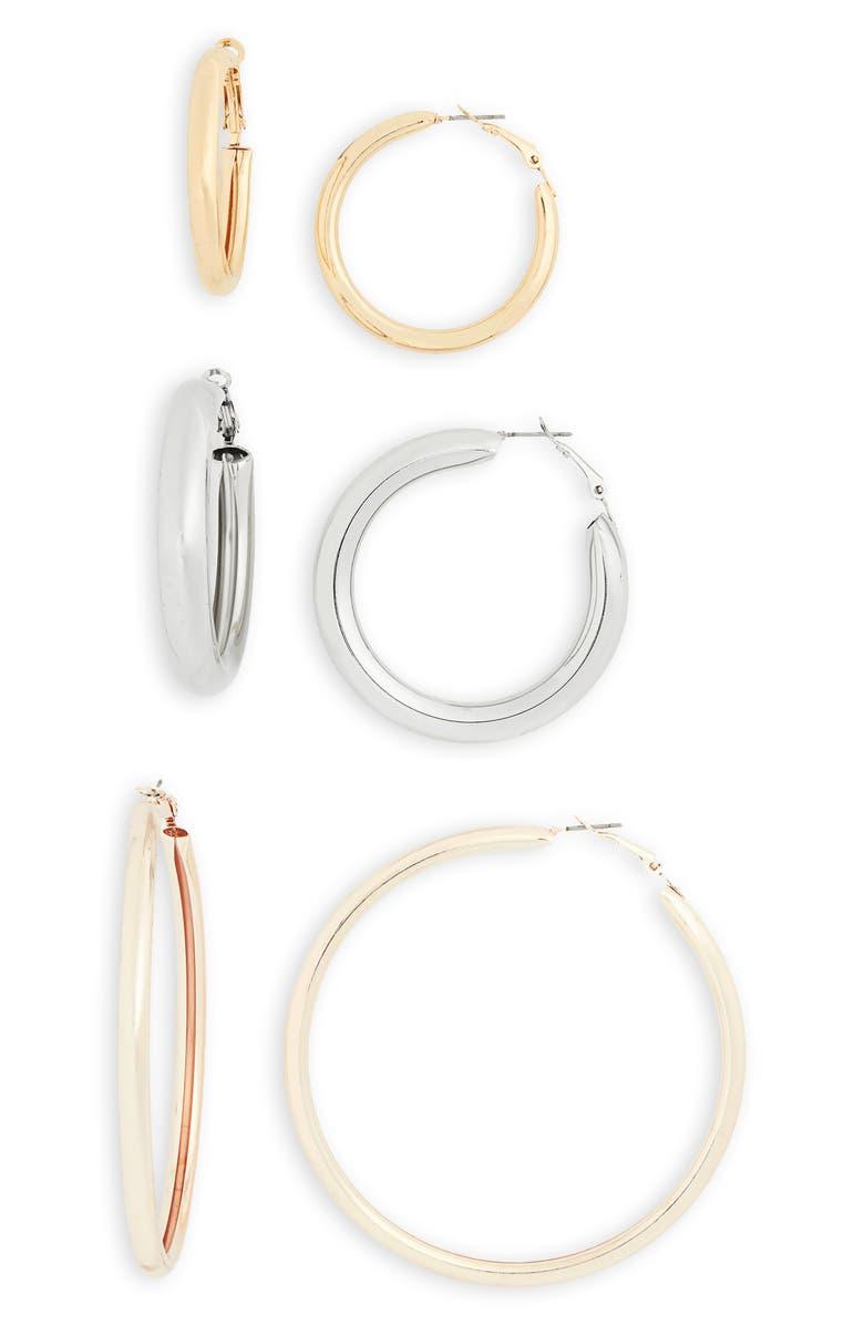 BP. 3-Pack Hoop Earrings, Main, color, GOLD- RHODIUM
