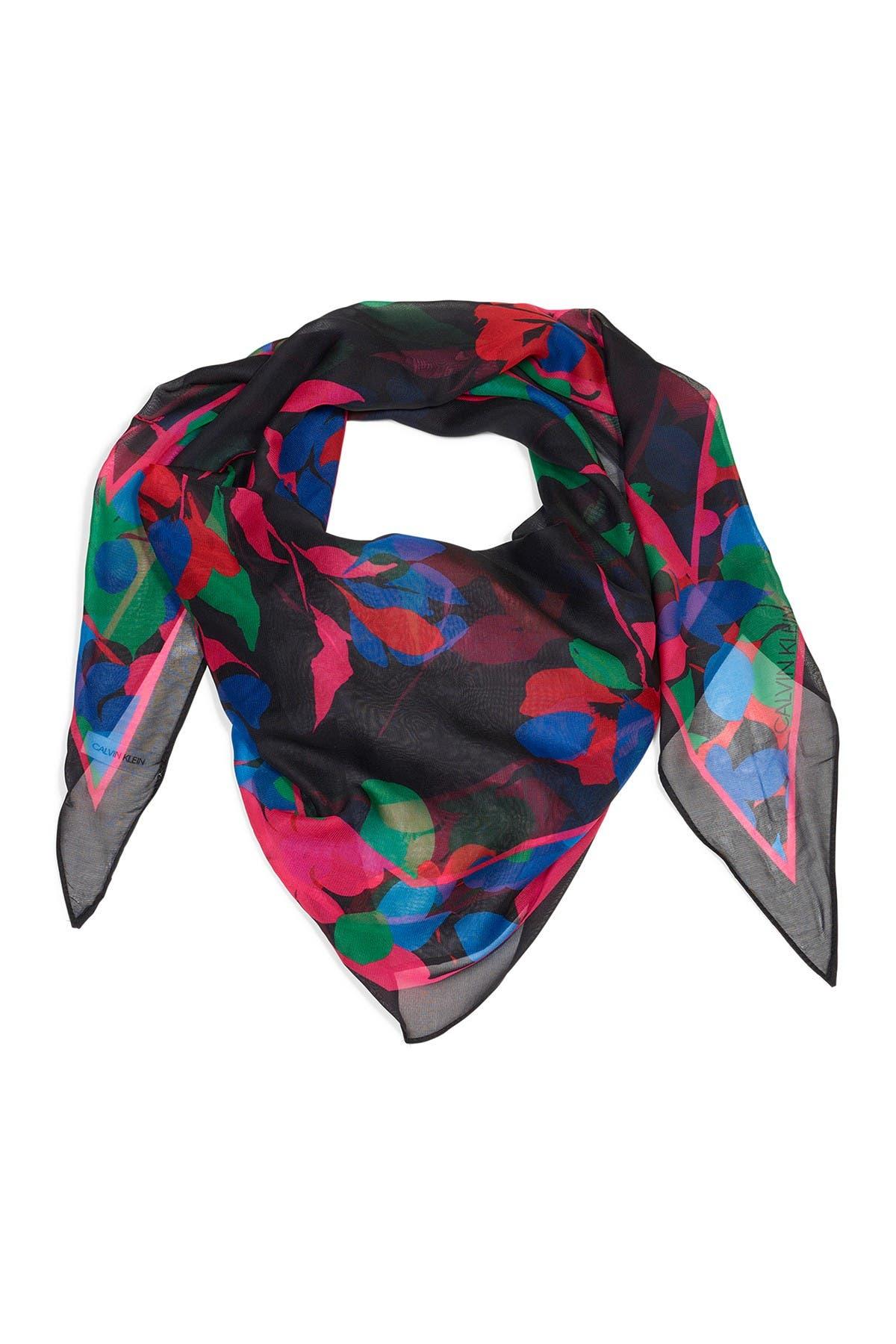 Chiffon Ladies Abstract Flower Design Scarf Shawl Wrap